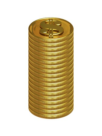 eighteen: Isolated column of eighteen golden dollar coins