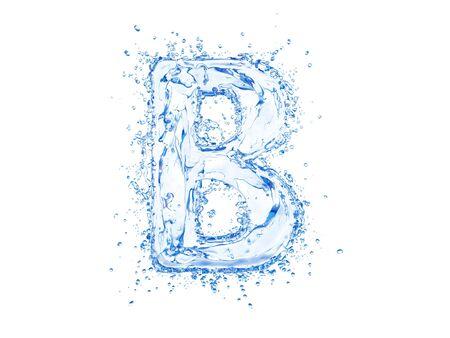 upper case: Water splash letter B. Upper case.