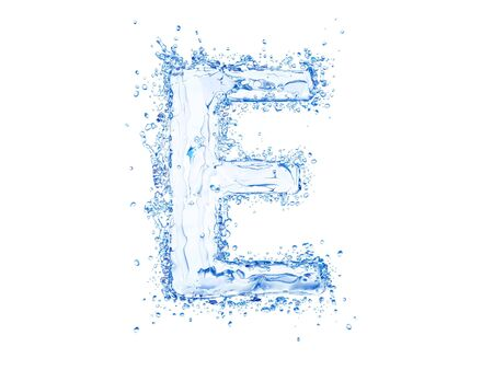 Water splash letter E. Upper case Stock Photo