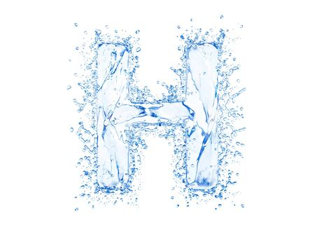 upper case: Water splash letter H. Upper case.