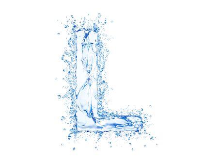 Water splash letter L. Upper case.
