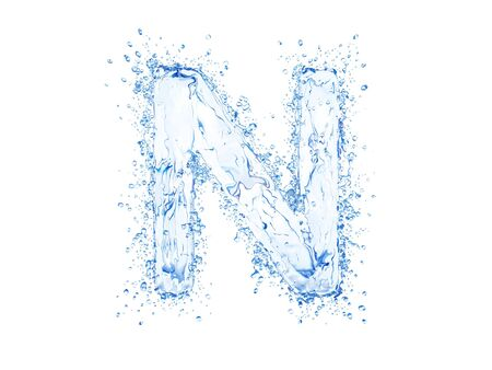 Water splash letter N. Upper case