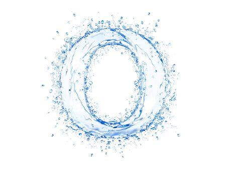 Water splash letter O. Upper case.