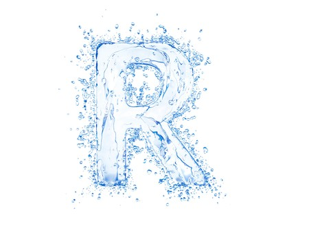 Water splash letter R. Upper case.