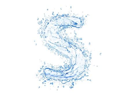 letra s: Carta de bienvenida de agua alta S. caso.