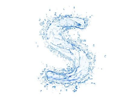 Water splash letter S. Upper case. Stock Photo