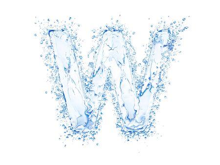 Water splash letter W. Upper case. Stok Fotoğraf - 7562912