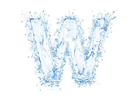 coolness: Water splash letter W. Upper case.