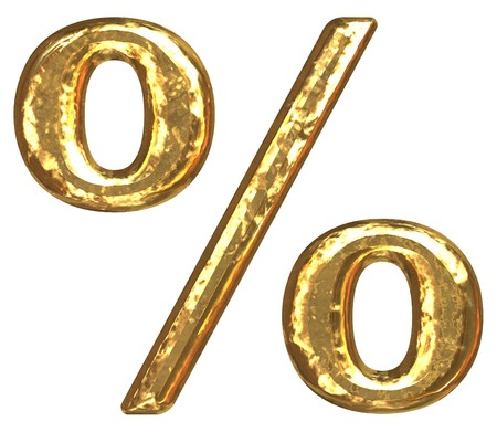 Gold percent sign as bars.Letter as grainy bar of gold   photo