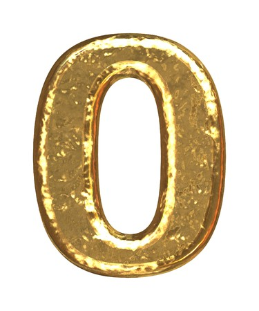 arabic number: Gold number as bars.Letter as grainy bar of gold   Stock Photo