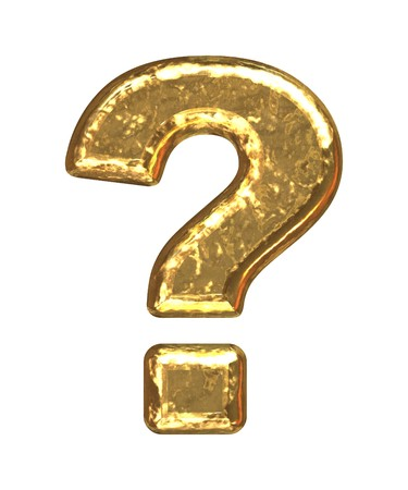 Gold question mark as bars.Letter as grainy bar of gold