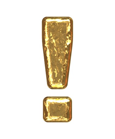 Gold exclamation point as bars.Letter as grainy bar of gold