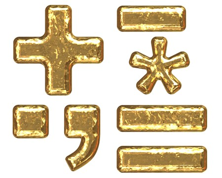 Gold symbols as bars.Letter as grainy bar of gold   photo