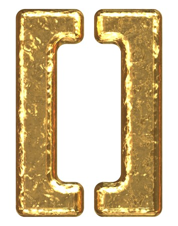 Gold symbol as bars.Letter as grainy bar of gold