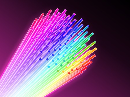 fluorescence: Technology background from bunch of rainbow optical fiber