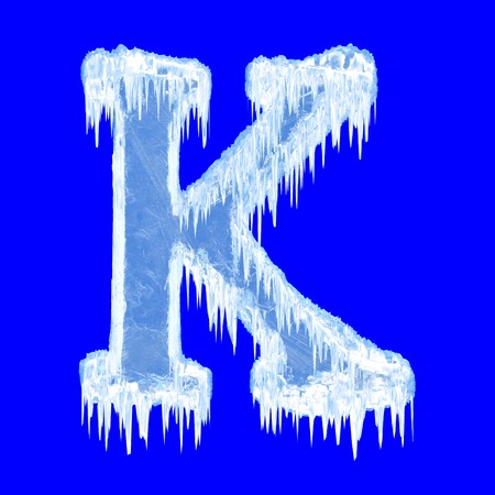 Icing alphabet. Letter K. Upper case