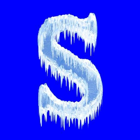 letra s: Alfabeto de hielo. Tipo de letra S. superior  Foto de archivo