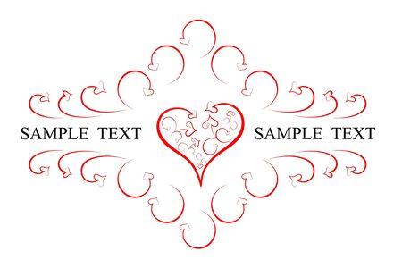 red swirl: Emblema astratta da cuori e pergamene Vettoriali