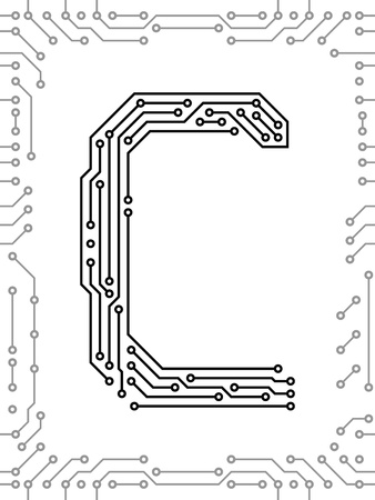 Alphabet of printed circuit boards. Easy to edit. Capital letter C