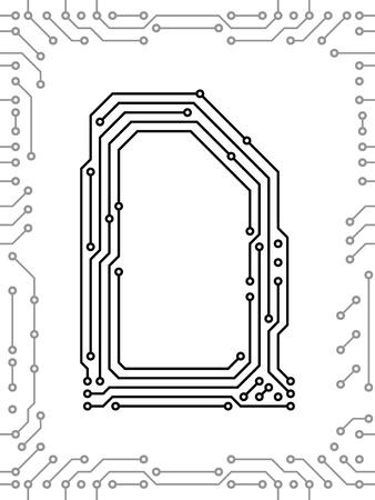 Alfabeto de placas de circuitos impresos. Fácil de editar. Letra D Foto de archivo - 9934827