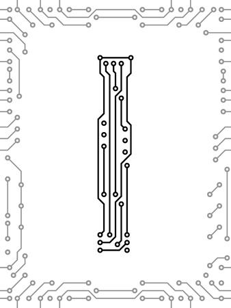 Alfabeto de placas de circuito impreso. Fácil de editar. Mayúscula I Foto de archivo - 9934810