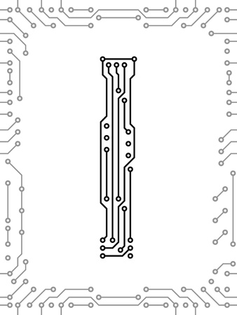 Alphabet of printed circuit boards. Easy to edit. Capital letter I Vector