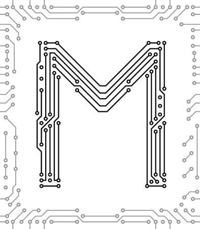 printed: Alphabet of printed circuit boards. Easy to edit. Capital letter M