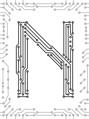 printed: Alphabet of printed circuit boards. Easy to edit. Capital letter N