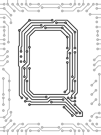 bytes: Alphabet of printed circuit boards. Easy to edit. Capital letter Q