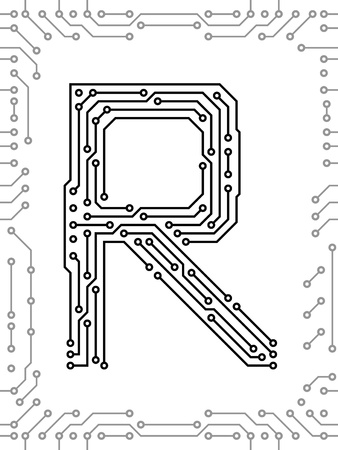 Alphabet of printed circuit boards. Easy to edit. Capital letter R Vector