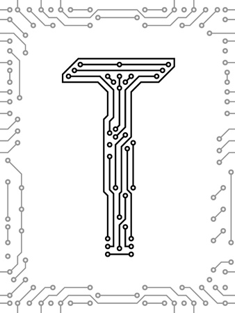 Alphabet of printed circuit boards. Easy to edit. Capital letter T Vector