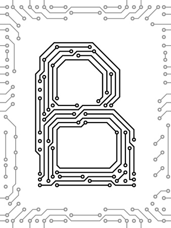 Alphabet of printed circuit boards. Easy to edit. Capital letter B Vector