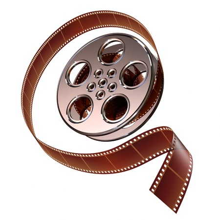 film frame: Reel of film with the protruding film can Stock Photo