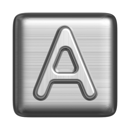 solid silver: Metal alphabet in the form of a cliche. Capital letter A Stock Photo
