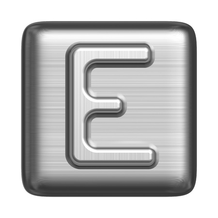 cliche: Metal alphabet in the form of a stamp. Capital letter E Stock Photo