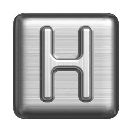 solid silver: Metal alphabet in the form of a stamp. Capital letter H Stock Photo