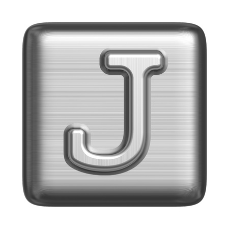 Metal alphabet in the form of a stamp. Capital letter J