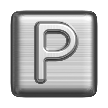 block letters: Metal alphabet in the form of a stamp. Capital letter P Stock Photo