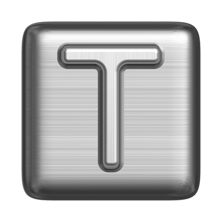 Metal alphabet in the form of a stamp. Capital letter T