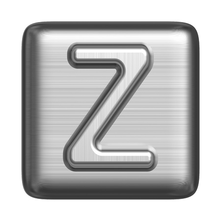 solid silver: Metal alphabet in the form of a stamp. Capital letter Z Stock Photo