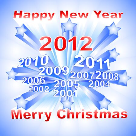 New Year 2012 light background with different years and stars Vector