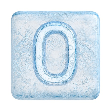 Ice cubes Font. Number 0 photo