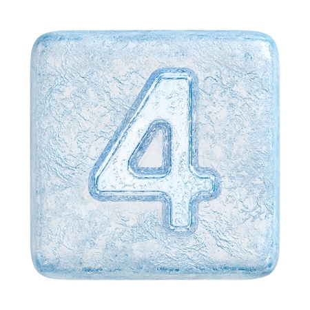 Ice cubes Font. Number 4 photo