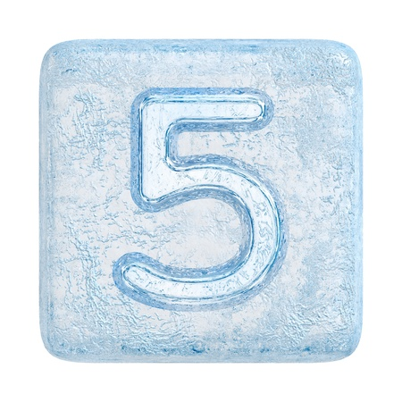 five objects: Ice cubes Font. Number 5 Stock Photo