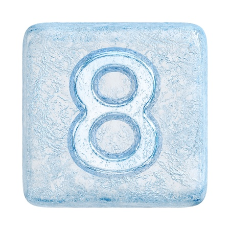 Ice cubes Font. Number 8 photo