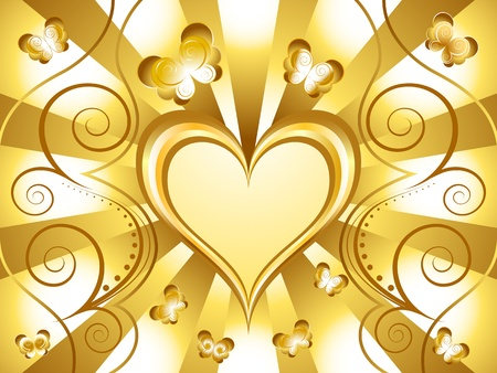 Gold Heart Holiday Background Stock Vector - 11980323