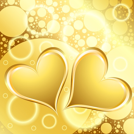 Gold Heart Shiny Holiday Background Vector
