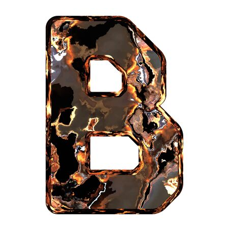 dross: Abstract rusty grunge font. With clipping path. Capital letter B
