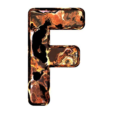scoria: Abstract rusty grunge font. With clipping path. Capital letter F Stock Photo