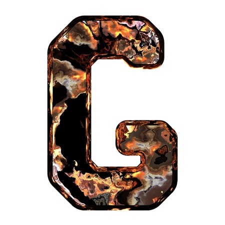 dross: Abstract rusty grunge font. With clipping path. Capital letter G Stock Photo